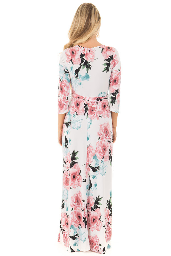 Ivory Floral Print Wrap Style Maxi Dress with Waist Tie back full body