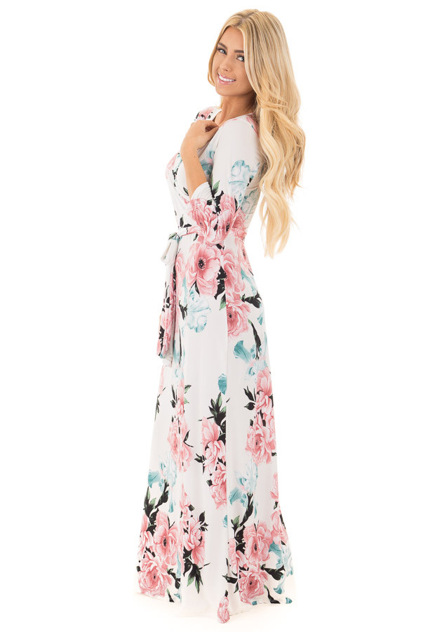 Ivory Floral Print Wrap Style Maxi Dress with Waist Tie side full body