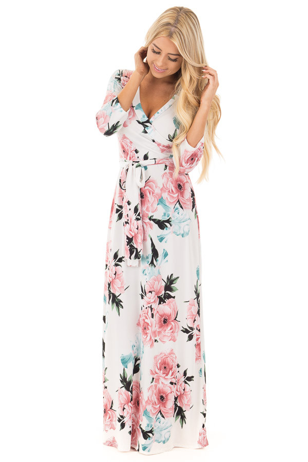 Ivory Floral Print Wrap Style Maxi Dress with Waist Tie front full body