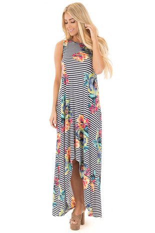 Navy Striped with Bright Floral Sleeveless High-Low Maxi front full body