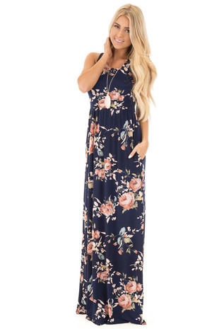 Navy and Peach Racerback Floral Maxi Dress with Side Pockets front full body