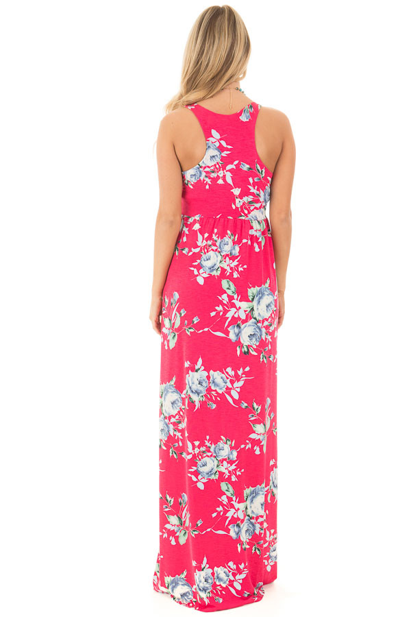 Fuchsia Racerback Floral Maxi Dress with Side Pockets back full body