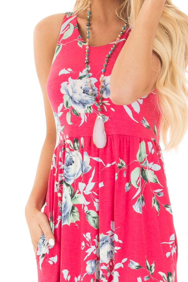 Fuchsia Racerback Floral Maxi Dress with Side Pockets detail