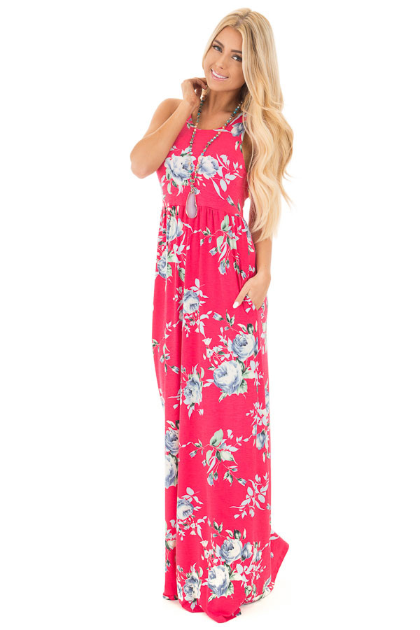 Fuchsia Racerback Floral Maxi Dress with Side Pockets front full body