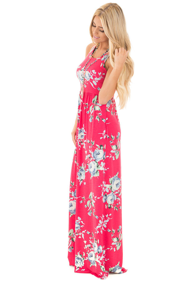 Fuchsia Racerback Floral Maxi Dress with Side Pockets side full body