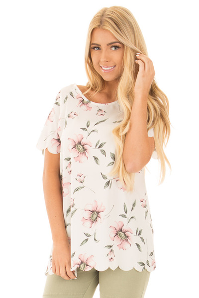 Ivory and Blush Floral Print Scalloped Short Sleeve Blouse front close up