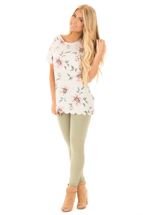 Ivory and Blush Floral Print Scalloped Short Sleeve Blouse front full body