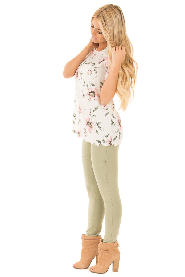 Ivory and Blush Floral Print Scalloped Short Sleeve Blouse side full body