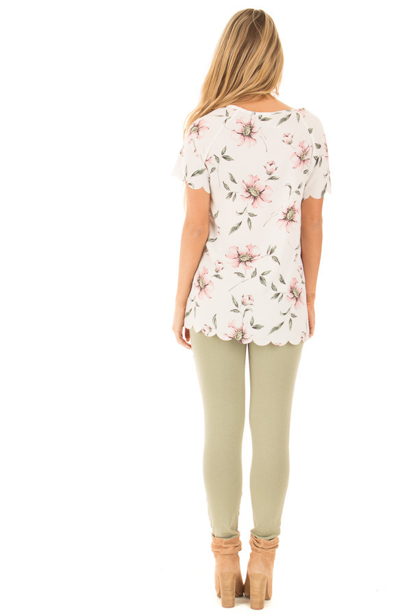 Ivory and Blush Floral Print Scalloped Short Sleeve Blouse back full body