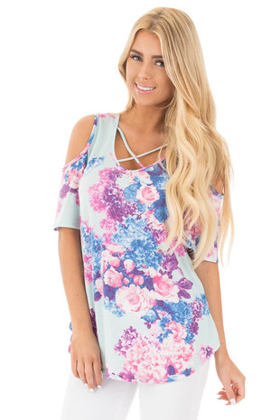 Mint Cold Shoulder Floral Top with Criss Cross V Neckline front close up