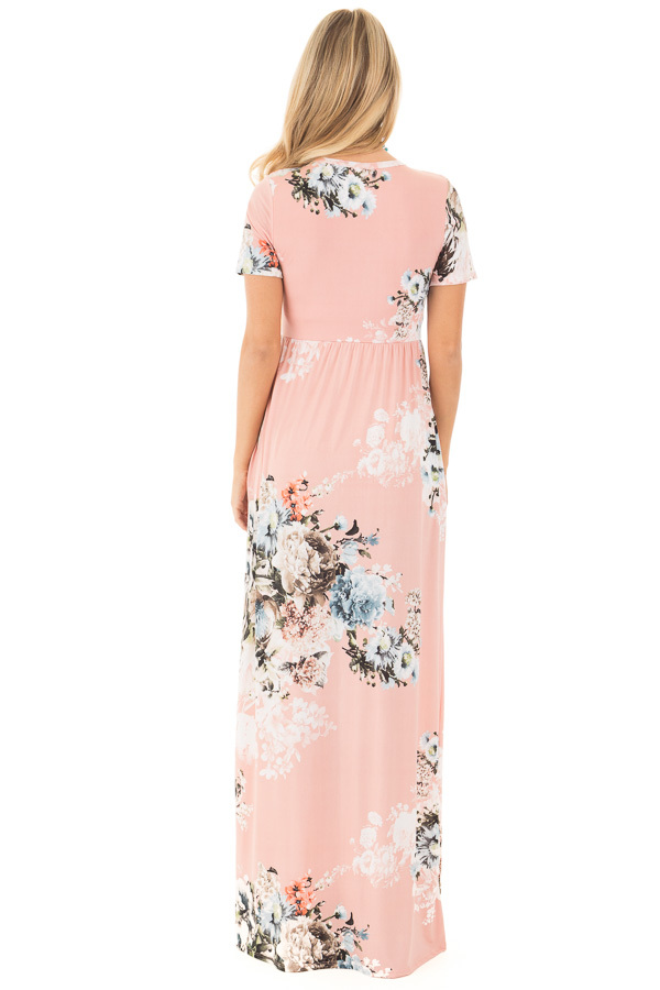 Blush Multi Floral Maxi Dress with Hidden Pockets back full body
