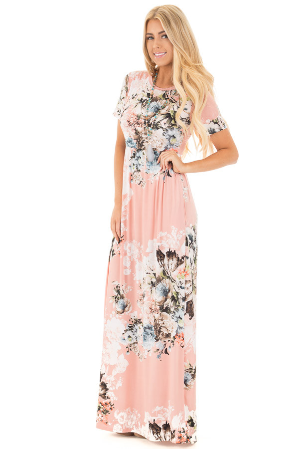 Blush Multi Floral Maxi Dress with Hidden Pockets front full body
