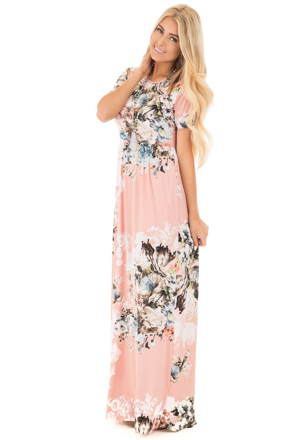 Blush Multi Floral Maxi Dress with Hidden Pockets front side full body