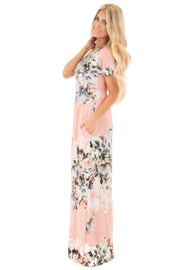 Blush Multi Floral Maxi Dress with Hidden Pockets side full body
