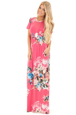 Fuchsia Multi Floral Maxi Dress with Hidden Pockets front full body