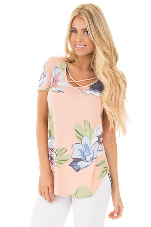 Peach Floral Criss Cross V Neck Top with Rounded Hemline front close up