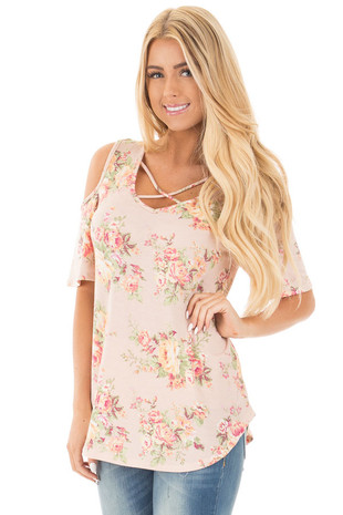 Blush Floral Print Cold Shoulder Top with X Neckline front close up