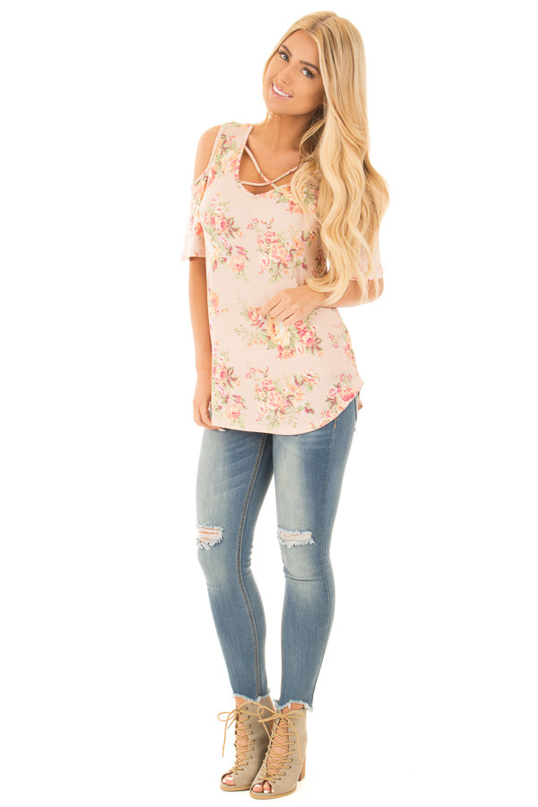 Blush Floral Print Cold Shoulder Top with X Neckline front full body