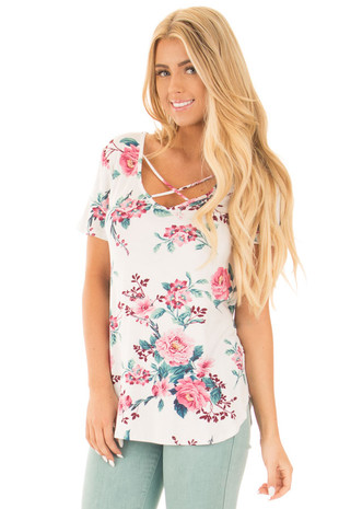 White and Rose Floral Print Tee with X Neckline front close up