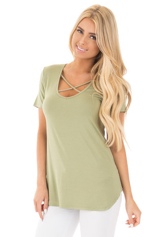 Sage Short Sleeve Top with Criss Cross Detail front full body