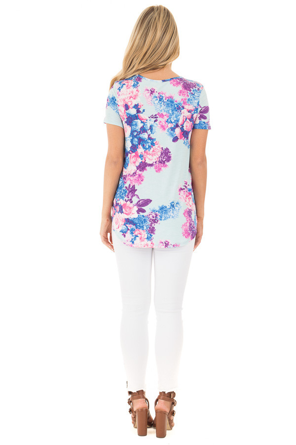 Baby Blue Criss Cross Neckline Tee with Bright Floral Print back full body