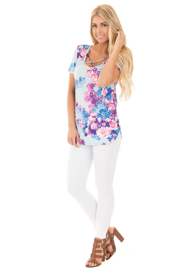 Baby Blue Criss Cross Neckline Tee with Bright Floral Print front full body