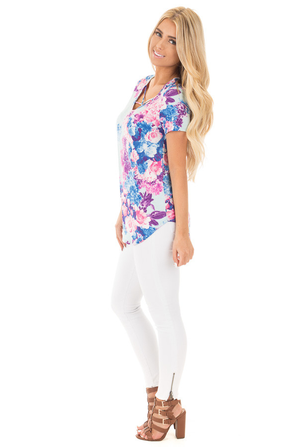 Baby Blue Criss Cross Neckline Tee with Bright Floral Print side full body