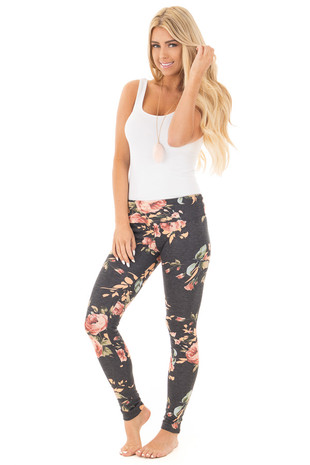 Charcoal Floral Print Casual Leggings front full body