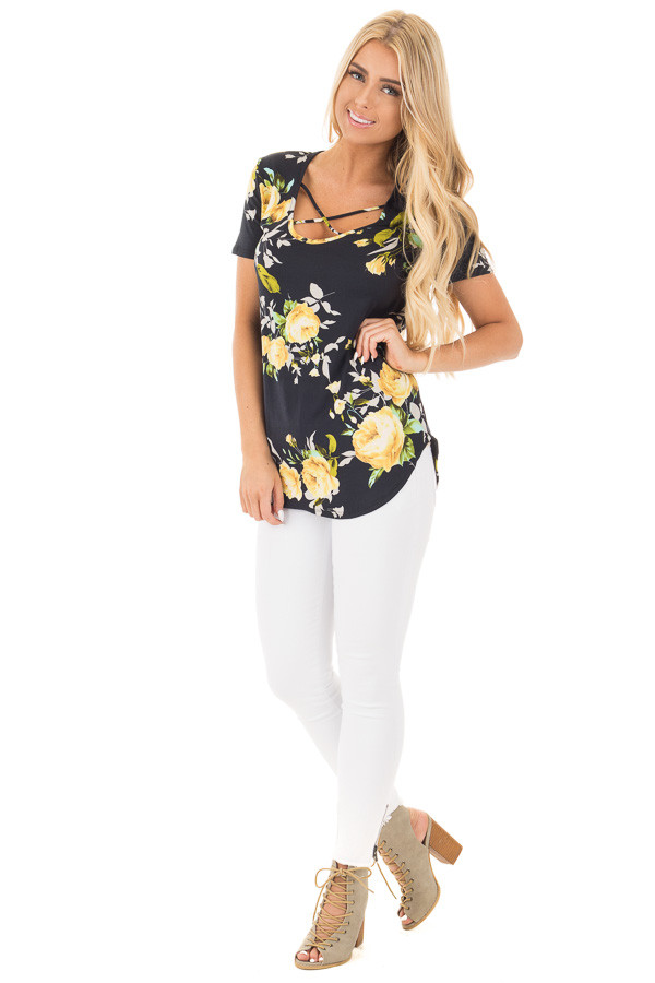 Black Super Soft Tee with Lemon Floral Print front full body