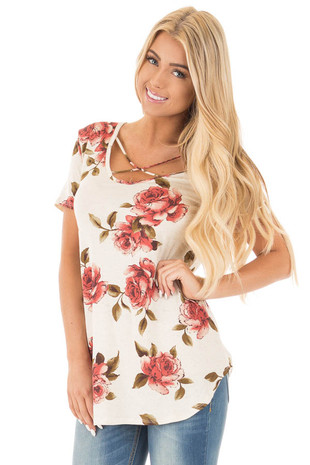 Oatmeal Criss Cross V Neck Top with Rust Floral Print front close up