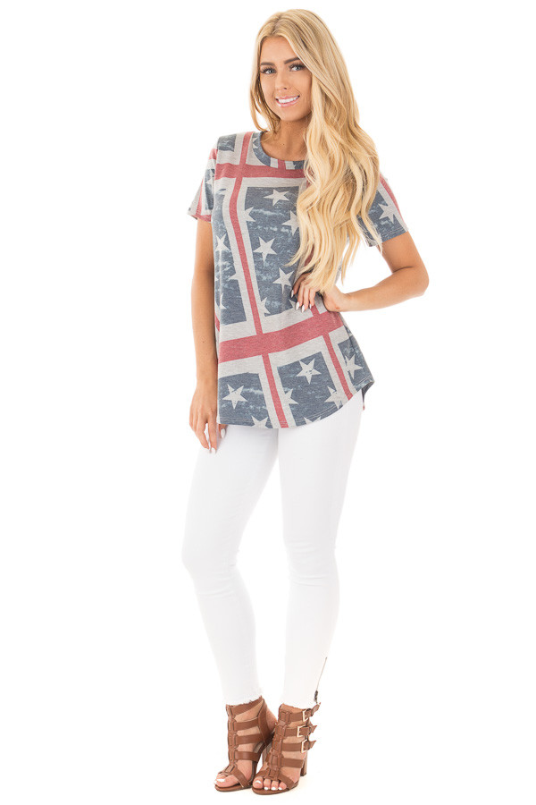 American Flag Print Short Sleeve Tee front full body
