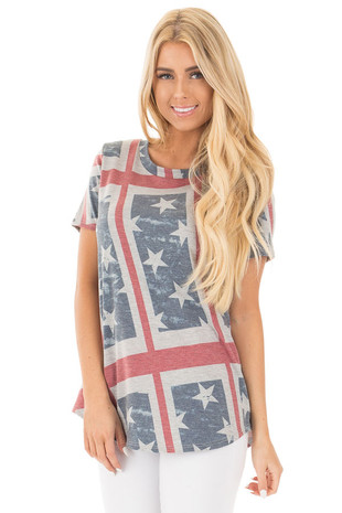 American Flag Print Short Sleeve Tee front close up
