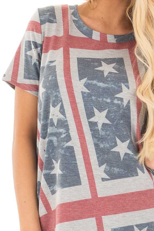 American Flag Print Short Sleeve Tee detail