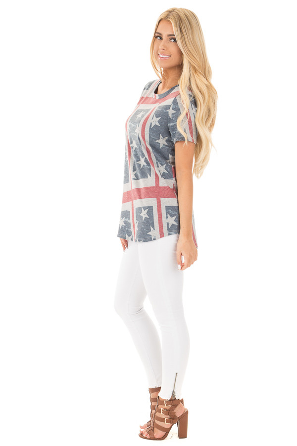 American Flag Print Short Sleeve Tee side full body