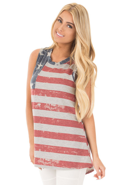 American Flag Print Tank Top with High Low Hemline front close up