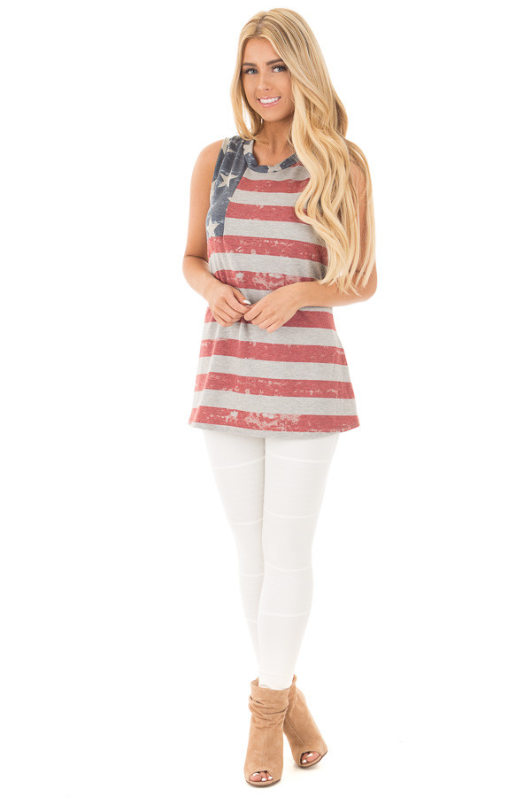 American Flag Print Tank Top with High Low Hemline front full body