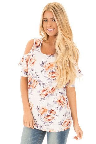Ivory Floral Cold Shoulder Top with Ruffle Sleeve Details front close up