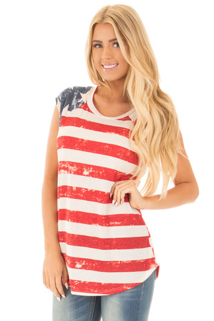 Faded American Flag Print Tank With Bow Racerback Details