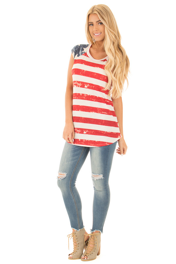 American Flag Faded Print Cap Sleeve Tee front full body