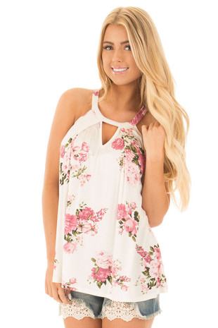 Ivory Floral Halter Top with Keyhole Front and Pleated Detail front close up
