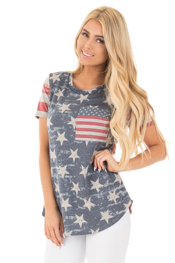 American Flag Print Tee with Contrast Breast Pocket front close up