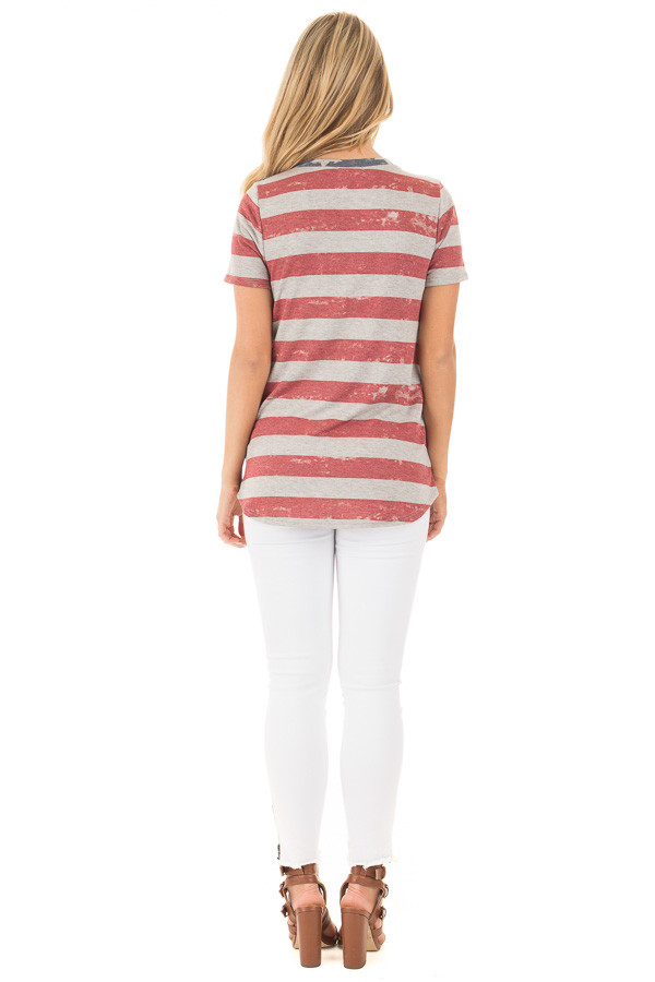American Flag Print Tee with Contrast Breast Pocket back full body