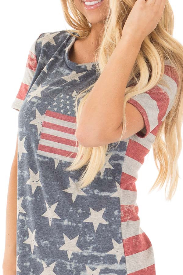 American Flag Print Tee with Contrast Breast Pocket detail