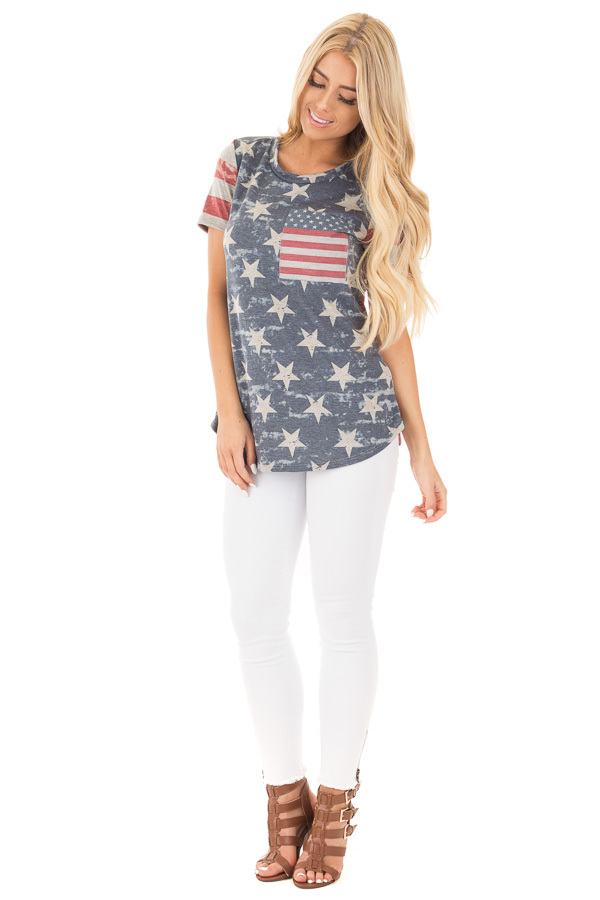 American Flag Print Tee with Contrast Breast Pocket front full body