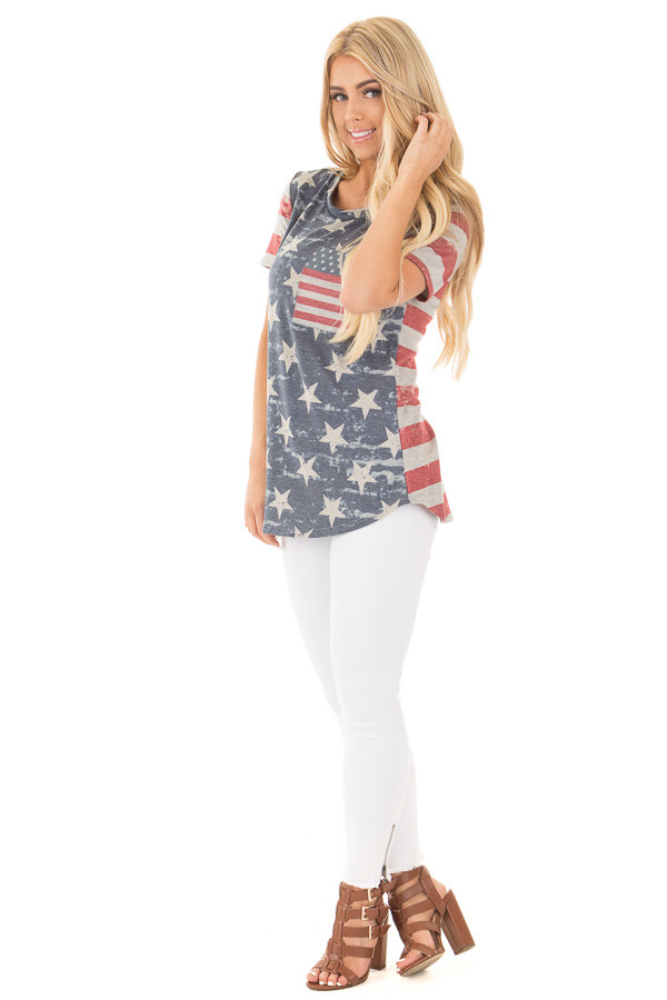 American Flag Print Tee with Contrast Breast Pocket side full body