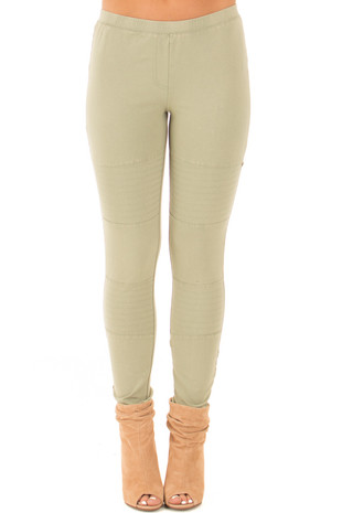 Olive Leggings with Stitched Details front view