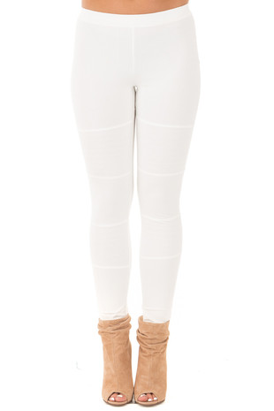 White Leggings with Stitched Details front view