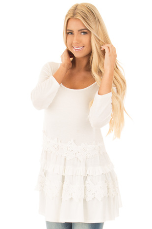 Ivory 3/4 Sleeve Tunic Top with Lower Ruffle Lace Detail front close up