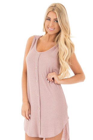 Mauve Knit Hooded Sleeveless Sweater Dress with Button Detail front close up