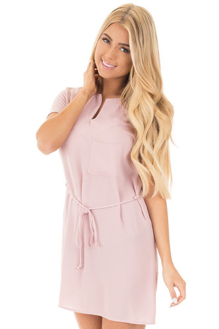 Dusty Pink Light Woven Dress with Pocket and Waist Tie Detail front close up